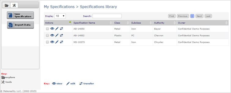 Specifications library